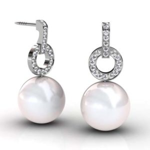 South Sea Pearl Earrings with Diamond Circle 1 2