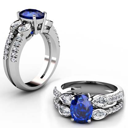 Sparkling Oval Shaped Sapphire and Pear Cut Diamond Engagement Ring with a Uniqe Design 1 2