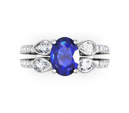 Sparkling Oval Shaped Sapphire and Pear Cut Diamond Engagement Ring with a Uniqe Design 2 2