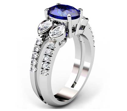 Sparkling Oval Shaped Sapphire and Pear Cut Diamond Engagement Ring with a Uniqe Design 4 2