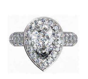 Sparkling Pear Shaped Diamond Halo Engagement Ring with Glamorous Details 2 2