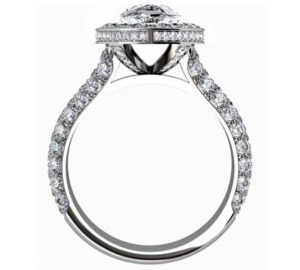 Sparkling Pear Shaped Diamond Halo Engagement Ring with Glamorous Details 3 2