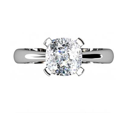 Square Cushion Cut Diamond Solitaire Engagement Ring 2