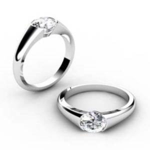 Tension Set Solitaire Diamond Engagement Ring 1 3