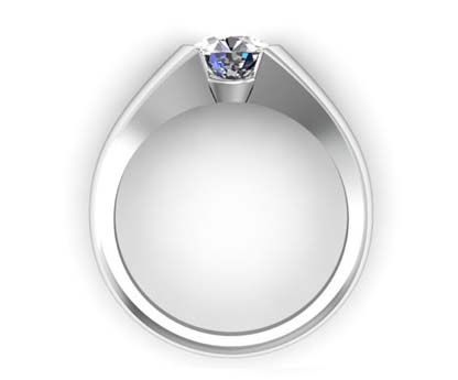 Tension Set Solitaire Diamond Engagement Ring 3 3