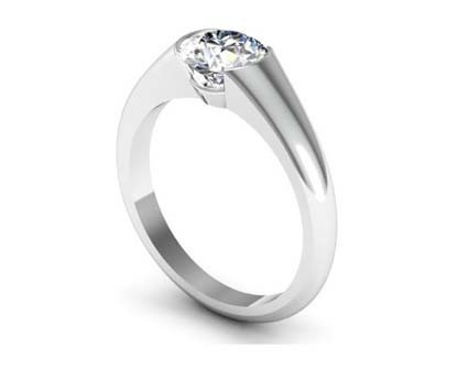 Tension Set Solitaire Diamond Engagement Ring 4 3