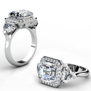 Three Carat Asscher Cut and Heart Shape Diamond Halo Engagement Ring 1 2