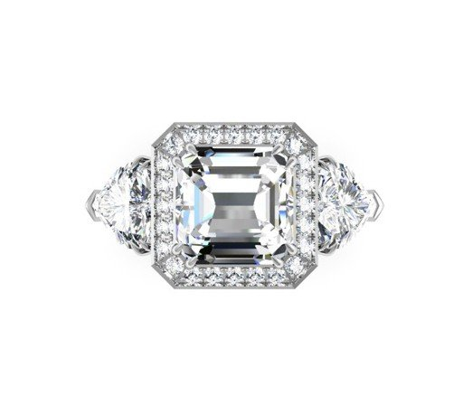 Three Carat Asscher Cut and Heart Shape Diamond Halo Engagement Ring 2 2