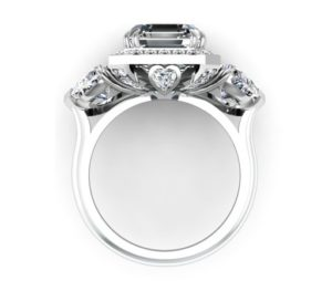 Three Carat Asscher Cut and Heart Shape Diamond Halo Engagement Ring 3 2