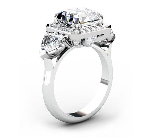 Three Carat Asscher Cut and Heart Shape Diamond Halo Engagement Ring 4 2