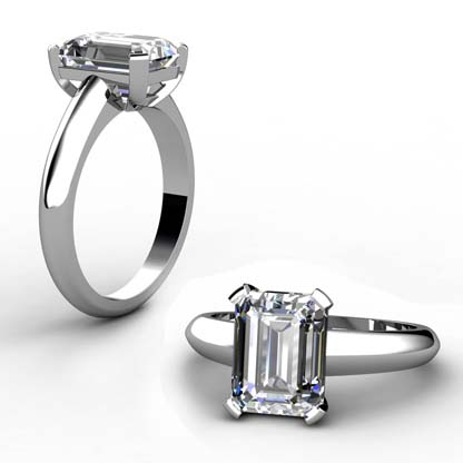 Three Carat Emerald Cut Diamond Solitaire Engagement Ring With Wide Band