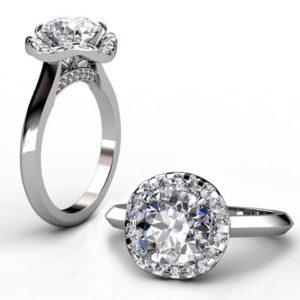 Three Carat Round Brilliant Cut Diamond Halo Engagement Ring 1 2