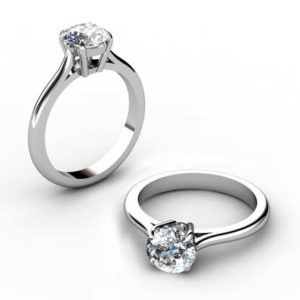Three Carat Round Brilliant Cut Diamond Solitaire Engagement Ring 1 1 2