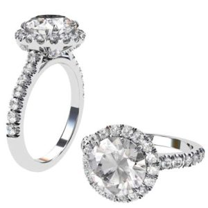 Three Carat Round Halo Diamond Engagement Ring 1 2