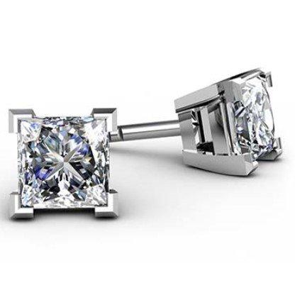 Traditional Four Claw Princess Cut Diamond Earrings 1 1 2