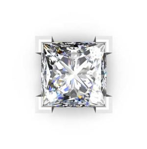 Traditional Four Claw Princess Cut Diamond Earrings 2 2