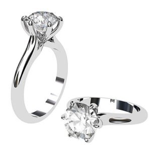 Twisted Six Claw Round Brilliant Cut Diamond Ring 1 2