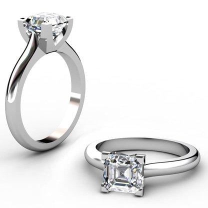 Two Carat Asscher Cut Solitaire Diamond Engagement Ring 1 2