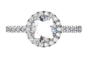 Two Carat Brilliant Cut Round Diamond Halo Engagement Ring 2 2