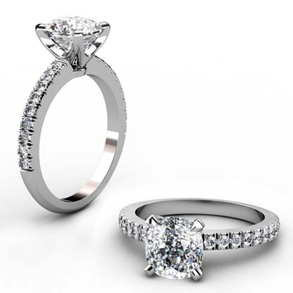 Two Carat Cushion Cut Diamond Engagement Ring 1