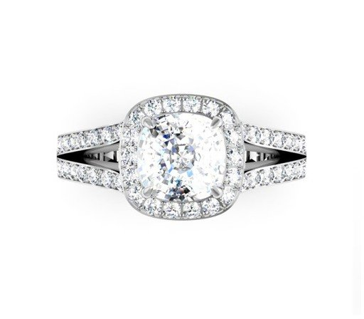 Two Carat Cushion Cut Diamond Halo Engagement Ring with Split Shank Band 2 2