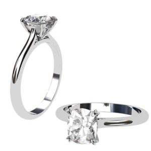 Two Carat Cushion Cut Solitaire Diamond Milgrain Beaded Engagement Ring 1 1