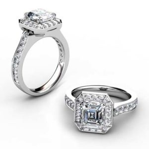 Two Carat Emerald Cut Diamond Halo Engagement Ring 1 2