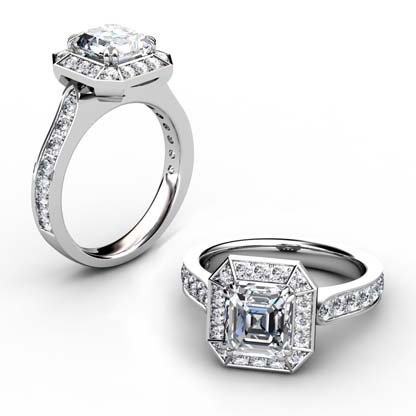 Two Carat Emerald Cut Diamond Halo Engagement Ring 1 2