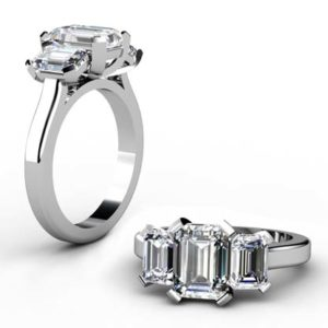 Two Carat Emerald Cut Three Stone Diamond Engagement Ring 1 2