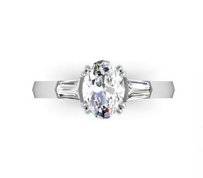 Two Carat Oval Diamond Three Stone Engagement Ring with Knife s Edge Band 2