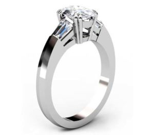 Two Carat Oval Diamond Three Stone Engagement Ring with Knife s Edge Band 4