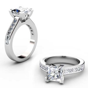 Two Carat Princess Cut Diamond Engagement Ring with Channel Set Diamond Half Band 1 2