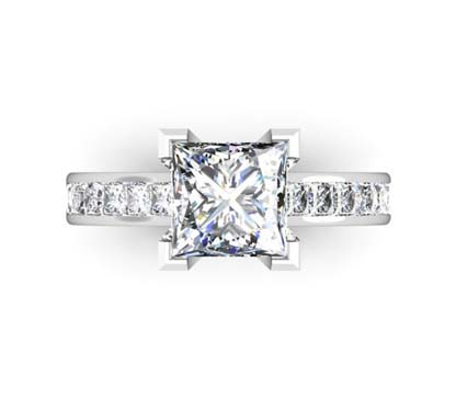 Two Carat Princess Cut Diamond Engagement Ring with Channel Set Diamond Half Band 2 2
