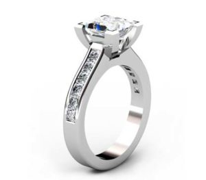 Two Carat Princess Cut Diamond Engagement Ring with Channel Set Diamond Half Band 4 2