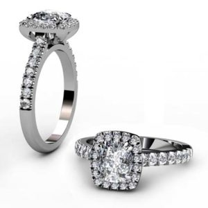 Two Carat Rectangle Cushion Cut Diamond Halo Engagement Ring 1 2