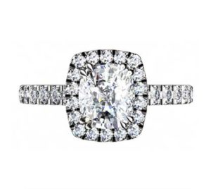 Two Carat Rectangle Cushion Cut Diamond Halo Engagement Ring 2 2