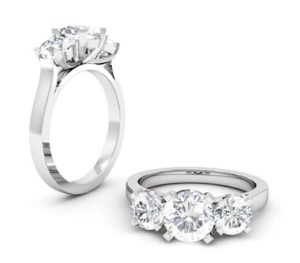 Two Carat Round Brilliant Cut Diamond Three Stone Ring 1 2