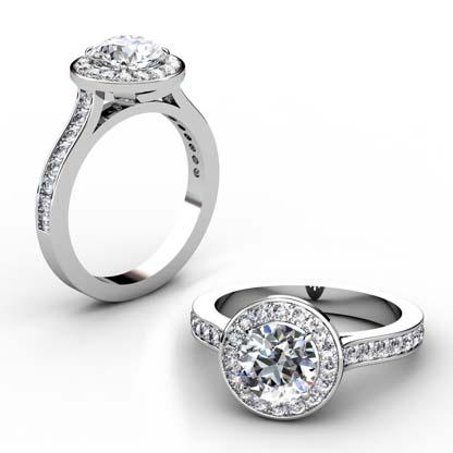 Two Carat Round Brilliant Cut Halo Diamond with Channel Set Diamonds Band 1 2