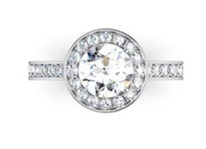 Two Carat Round Brilliant Cut Halo Diamond with Channel Set Diamonds Band 2 2
