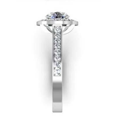 Two Carat Round Brilliant Cut Halo Diamond with Channel Set Diamonds Band 5 2