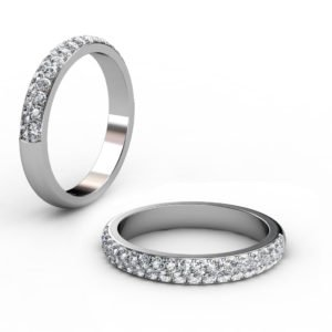 Two Row Cobblestone Micro Pave Diamond Half Eternity Band 1