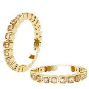 Unique Square Bead Set Champagne Diamond Eternity Band 1