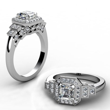 Vintage Style Asscher Cut Diamond Halo Engagement Ring