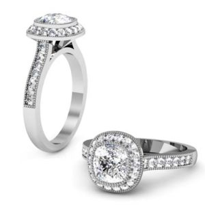 Vintage Style Cushion Cut Diamond Halo Bezel Set Engagement Ring 1 2