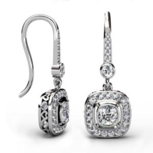 Vintage Style Custom Made Cushion Cut Diamond Halo Drop Earrings with Heart Filigree 1 1 2
