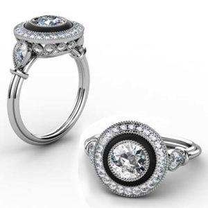 Vintage Style Diamond Ring with Onyx Inlay 1 2