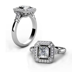 Vintage Style Radiant Cut Diamond Halo Engagement Ring 1 2