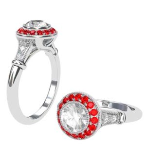 Vintage Style Round Brilliant Cut Diamond Target Ring with a Ruby Halo 1 2