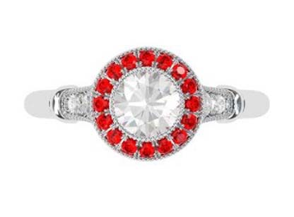 Vintage Style Round Brilliant Cut Diamond Target Ring with a Ruby Halo 2 2