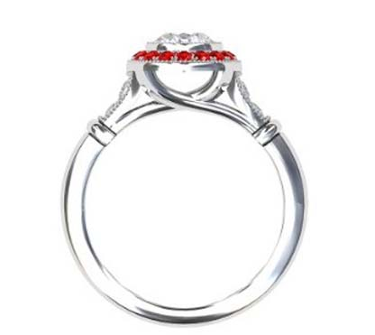 Vintage Style Round Brilliant Cut Diamond Target Ring with a Ruby Halo 3 2